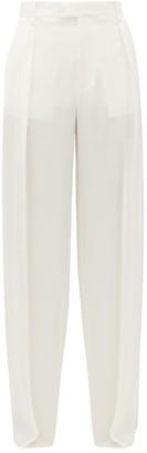 Bottega Veneta High-rise Wide-leg Silk Trousers - White