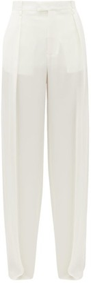 Bottega Veneta High-rise Wide-leg Silk Trousers - Womens - White