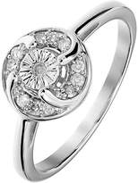 Love DIAMOND Sterling Silver 12 Points White Diamond Miracle Plate Twist Ring
