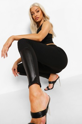 boohoo Panel Leather Look Pu Leggings