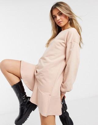 Style Cheat long sleeve peplum sweater dress in blush
