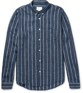 Steven Alan Cadet Striped Button-down Collar Linen-blend Shirt
