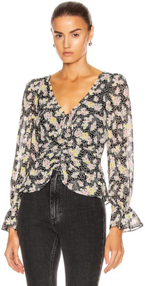 Cinq à Sept Long Sleeve Kimberly Top in Black & Multi | FWRD