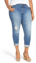 Melissa McCarthy Plus Size Women's Distressed Stretch High Rise Crop Girlfriend Jeans