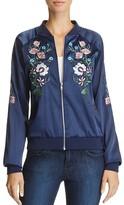 Aqua Floral Embroidered Bomber Jacket