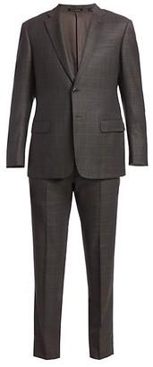 Emporio Armani Virgin Wool Windowpane Check Suit