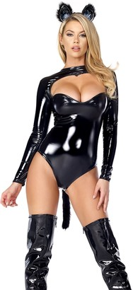 Forplay Women's Feline Fetish Bodysuit with Tail and Ear Headband