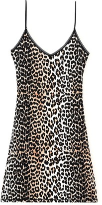 Ganni Rayon Slip Dress in Leopard