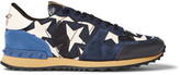 Valentino Embellished Camouflage-Print Canvas, Leather And Suede Sneakers