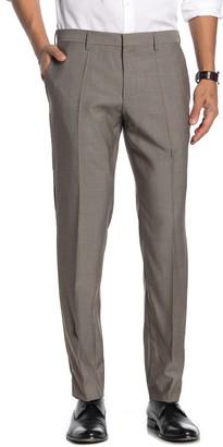 BOSS Medium Brown Sharkskin Flat Front Virgin Wool Slim Fit Suit Separates Pants