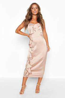 boohoo Petite Frill Detail Satin Cami Slip Dress