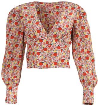 Lhd Coco Long-sleeve Silk Blouse Fruit Print