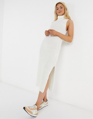 ASOS DESIGN knitted sleeveless midi dress in cream