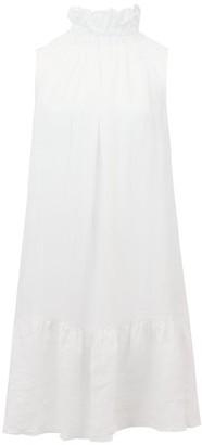Ephemera - High-neck Cotton-poplin Dress - Womens - White
