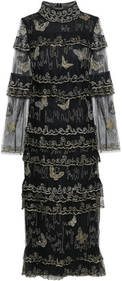 Valentino Tiered Metallic Embroidered Tulle Midi Dress