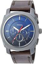 Fossil Men's 'Machine Chrono' Quartz Stainless Steel and Leather Casual Watch, Color: (Model: FS5388)