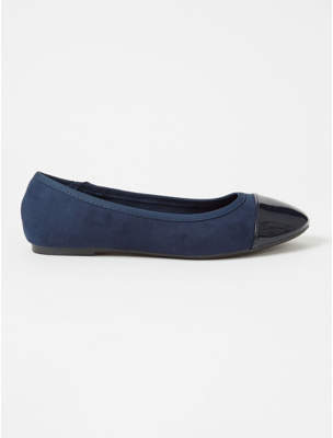 George Navy Suede Effect Patent Toe Cap Ballet Shoes