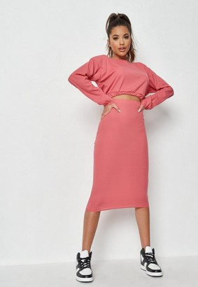 Missguided Co Ord Rib Crop Top And Midaxi Skirt Co Ord Set