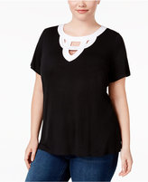 INC International Concepts Plus Size Cutout T-Shirt, Only at Macy's