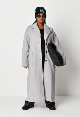 Missguided Plus Size Grey Oversized Long Coat