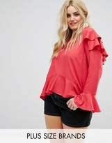Alice & You Top With Ruffle Layers In Sheer Fabric