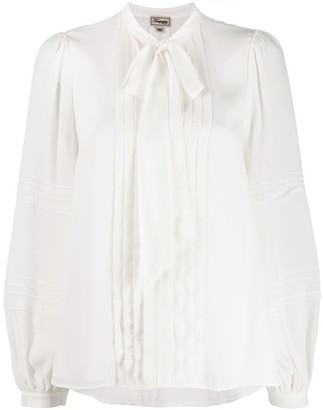Temperley London Pleated Pussy Bow Blouse