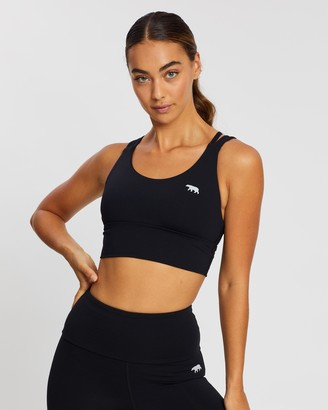 Running Bare Women's Black Crop Tops - Lotus Trio Longline Sports Bra - Size 8 at The Iconic