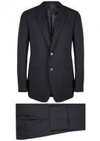 Giorgio Armani G-line Navy Pin-dot Wool Blend Suit