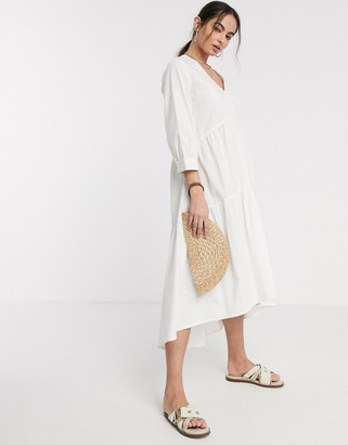 Y.A.S midi poplin smock dress with v neck in white