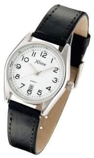 Xtime - XTD009-502 - Unisex Quartz Analogue Watch - White Dial - Black Leather Strap
