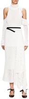 Proenza Schouler Mesh Cold Shoulder Asymmetrical Midi Dress