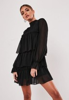 Missguided Black High Neck Tiered Smock Dress