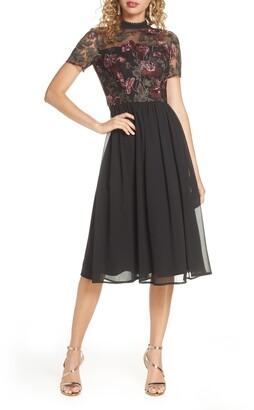 Chi Chi London Tashy Embroidered Chiffon A-Line Dress