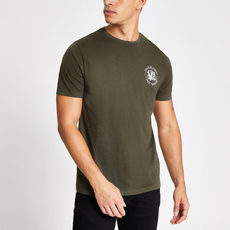 River Island Khaki printed short sleeve slim fit T-shirt