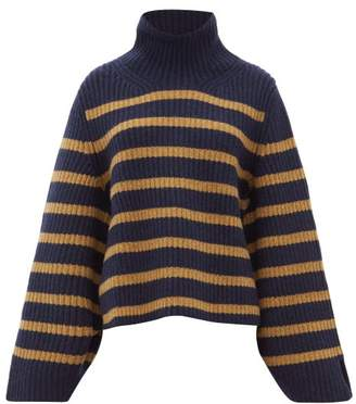 KHAITE Molly Roll-neck Striped Cashmere Sweater - Womens - Navy Multi