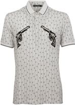 Dolce & Gabbana White Gun Patch Printed Polo Shirt