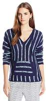 Michael Stars Women's Cotton Slub Striped Longsleeve Hoodie