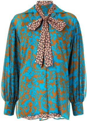 Maison Mihara Yasuhiro Damask-Print Long-Sleeved Blouse