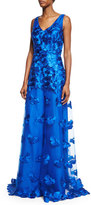 David Meister Sleeveless Floral-Appliqué A-Line Gown, Blue