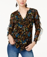 INC International Concepts Petite Printed Ruffled Blouse, Created for Macy's