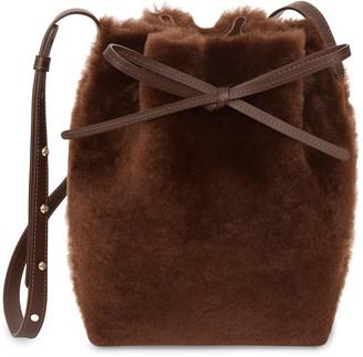 Mansur Gavriel Shearling Mini Bucket Bag - Dark Brown