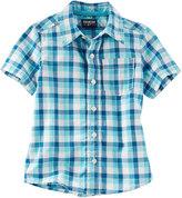 Osh Kosh Toddler Boy Short Sleeve Blue Plaid Poplin Button-Down Shirt