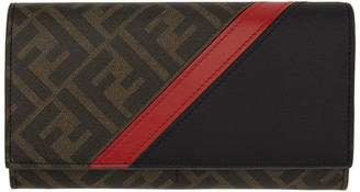 Fendi Brown and Red Forever Continental Wallet