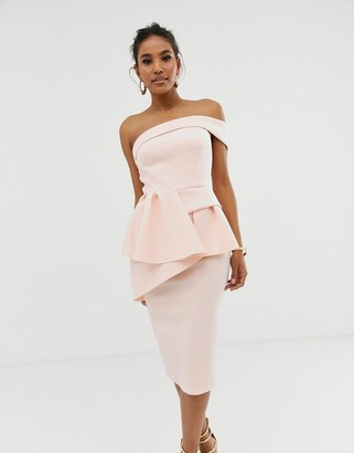 ASOS DESIGN Bandeau origami peplum pencil midi dress