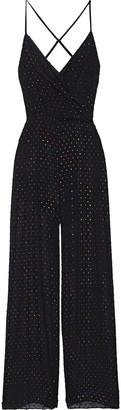 Mason by Michelle Mason Cami Draped Appliqued Chiffon Jumpsuit