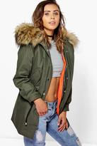 Boohoo Petite Liv 2 In 1 Zip Out Parka With Faux Fur Hood