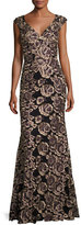 Jovani Cap-Sleeve Embroidered Rose Gown, Black/Gold