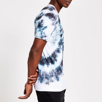 River Island Grey tie dye slim fit T-shirt