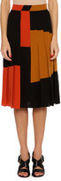 Bottega Veneta Pleated Colorblock Crepe de Chine Skirt, Multi