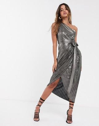 Ted Baker Gabria one shoulder drape midi dress in metallic
